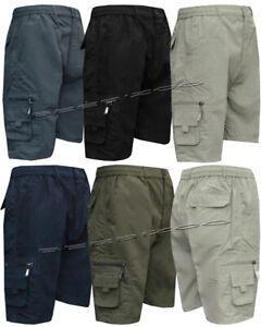 New Mens Elasticated Waist Cargo Combat Plain Shorts 6 Pocket Zip Fly M - 6XL