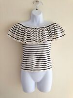 J. CREW womens Off Shoulder Ruffle Sweater sz S Small Top G5871 Striped Z48