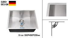 550mm Kitchen Sink Undermount Topmount 304 Stainless Steel  Square Edge Handmade