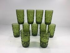 (11) Vintage Green Glass Tumbler Drinking Glasses - Textured 5.5""