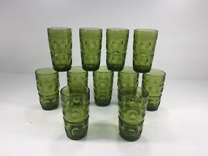 """(11) Vintage Green Glass Tumbler Drinking Glasses - Textured 5.5"""""""
