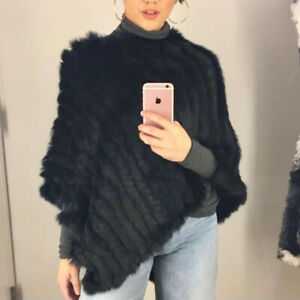 100%Real Rabbit Fur Poncho Women Fashion Style Knitted Shawl Natural Fur Cape