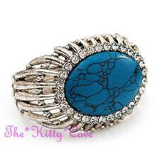 Vintage Victorian Turquoise Stone Sil Bangle Bracelet Cuff w/ Swarovski Crystals