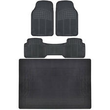 4 PC Set Auto Floor Mats Car Truck SUV Black Semi Custom Trimmable w/ Cargo Mat