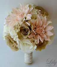 17 Piece Package Silk Flower Wedding Bridal Bouquet Rustic PEACH IVORY TAN BEIGE