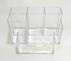 Clear Acrylic Desk Cosmetic Organiser Lipstick Brush Holder Makeup Storage Case