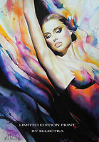 LIMITED EDITION PRINT BY ELLECTRA - BALLERINA / ORIGINAL NUDE EROTIC OIL