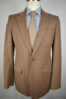 1970's Ah! Light Brown Herringbone Wool Two Button Two Piece Suit Size: 38R