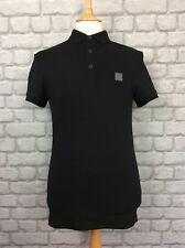 Hugo Boss De Hombre Uk S Calce Ajustado Camisa Polo Negro Vacaciones De Verano Diseñador activewear