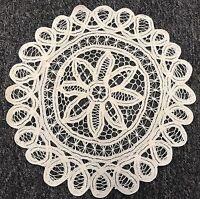 """12 Pcs 12"""" Beige Vintage Cotton Handmade Battenburg Lace Crochet Doily Doilies"""