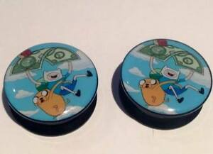 Pair Adventure Time Ear Plugs Flesh Tunnel Tunnels Stretcher Taper 6-30mm