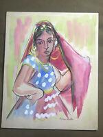 "Helen Malta ""Female Scene"" Watercolor Painting - Signed"