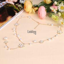Clásico Mujer Flor Perla Suéter Cadena Largo Collar Con Colgante Fashion Jewelry