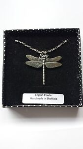 C3 Dragonfly english pewter 3D Platinum Necklace Handmade 18 INCH
