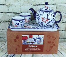 Pier 1 One Imports BUTTERFLY BLOSSOM 4-Piece Tea Set Original Box