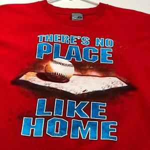 Baseball There's No Place Like Home Kids Graphic T Shirt XL Red Short Sleeves