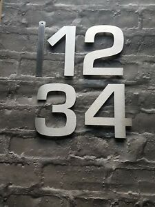 """4""""/10cm or 6""""/15cm stickon modern house/door numbers 2mm brushed stainless steel"""