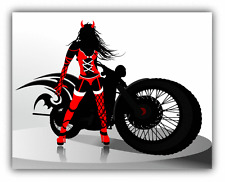 "Girl Motorcycle Auto Moto Devil Car Bumper Sticker Decal 5"" x 4"""