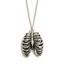 3D Ribcage silver heart necklace anatomy rib cage gothic goth rockabilly human