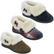Womens Winter Fur Slippers Warm Lined Ankle Soft Padded Cushion Walk UK 4-8