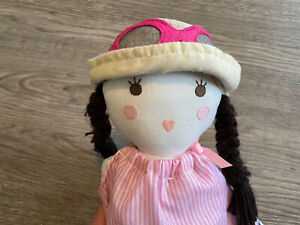 "28"" Pottery Barn Kids Cloth Designer Rag Doll PINK DRESS Brown Hair Braids PBK"