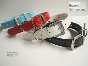 Faux leather Diamante Skull Dog Puppy Collar Blue Black White Red Various Sizes