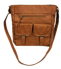 Large Washed Leather Long Strap Shoulder Bag Every Day Purse Soft Light Durable