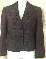 ANN TAYLOR Wool Blend Blazer Black White Heathered Tweed Jacket Career SZ 0