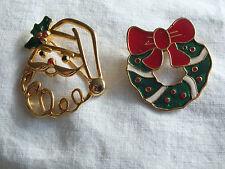 Collectible Christmas Brooch Pin Set 2 Enamel Signed Wreath & Santa Nice