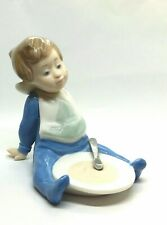 """Lladro Nao Daisa Figure """"Im Full"""" Boy Leaning Back From A Bowl Of Food # 1074"""