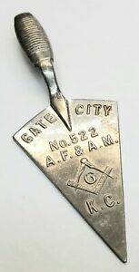 Masonic Gate City Miniature Trowel Silver Tone No 522 A.F & A.M K.C. Small Mason