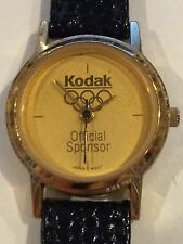 Nice Collectible Kodak Olympic Rings Lady's Gold Face Gold Tone Watch