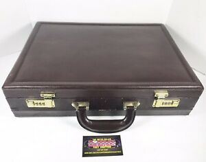 Vintage Maroon Leather Double Combination Lock Expandable Briefcase 18x13x4 Used