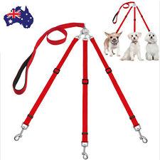 AU STOCK 3 Way Nylon Dog Chain No-Tangle Pet Leash Rope For Walking Three Dogs