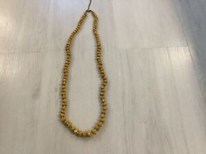 Mustard Coloured Bead Necklace - Long Lenght - Beautiful