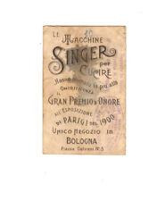Foglietto pubblicitario Singer /, Orari treni Bologna primi '900 - pubblicità