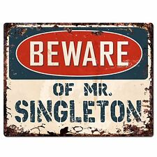 Pp4035 Beware of Mr. Singleton Plate Chic Sign Home Store Wall Decor Funny Gift