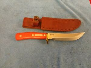 VINTAGE SCHRADE USA 165 DEERHUNTER HUNTING KNIFE & LEATHER SHEATH ORANGE HANDLE