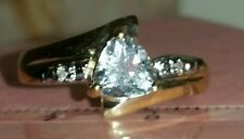 6MM ONE CUT STONE TRILLION NATURAL AQUAMARINE & DIAMOND RING  SIZE N RARE 🌟
