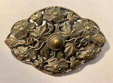 Pre-Raphaelite, Art Nouveau, Antique Brass Filigree Flower Motif Brooch / Pin