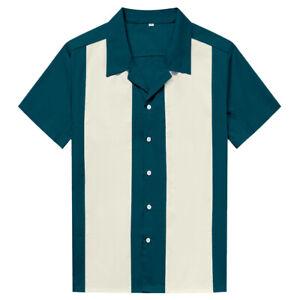 Men Western Shirt Short Sleeve Cotton Rockabilly Bowling Casual Shirts Lake Blue
