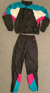 Vintage Nike Tracksuit Gray Tag Sz M Jacket Pants Swoosh Label Windbreaker Track