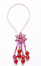 Déshabillé & exotique rose extensible bandeau w de perles & fleur franges fonctionnalité (zx44)