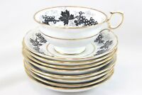 7 SETS HAMMERSLEY T GOODE 4531 CHINA FOOTED CUP & SAUCER BLACK GOLD WHITE GRAPES
