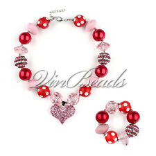 Pink Heart Pendant Gumball Bubblegum Chunky beads For Kids Necklace Bracelet Set