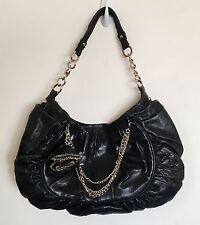 Junior Drake Handbag Purse Black Leather Hobo Shoulder Bag Medium