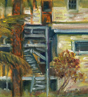 Key West Florida Morning Light   6x6 in. Original oil on canvas Hall Groat Sr.