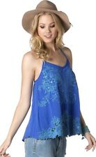 Miss Me Blue Botanical Bliss Cami Tank Top Shirt SIZE L MDT704T NWT