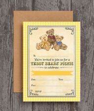 Pack of 10 Teddy Bears Picnic Birthday Party Christening Baby Shower Invitations