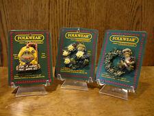 Boyds Folkwear 3 Ribbit Frog Pins;Jebediah Puddlejump; Frogmorton-Fish & Pad
